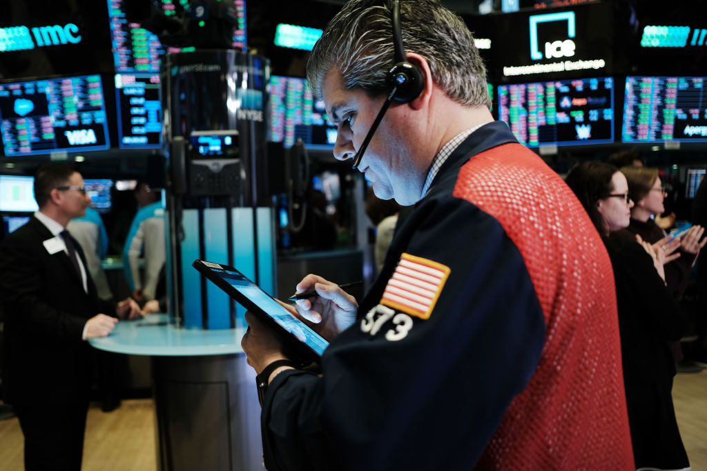 Traders work on the floor of the New York Stock Exchange (NYSE) on March 03, 2020 in New York City.