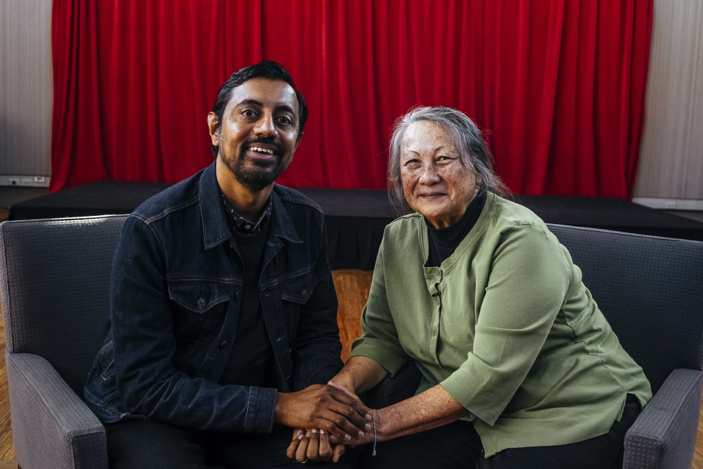 Animator and illustrator Sanjay Patel and his high school teacher at San Bernardino High Julie Tabler reunited at our studios at KPCC.