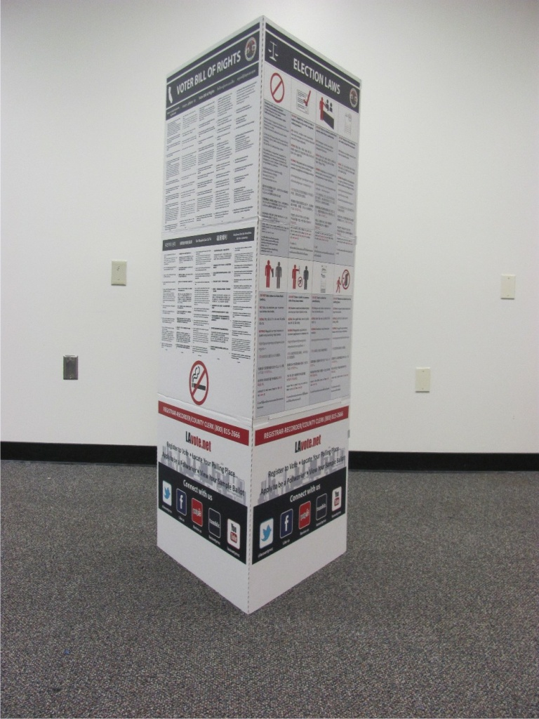 Information about voting is shown in 10 languages on these new cardboard kiosks that will be in more than 4,600 polling places for the June 3 primary.
