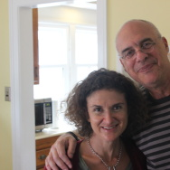 Alex Cohen and food critic Mark Bittman relax after working furiously in the kitchen