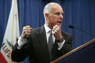 Gov. Jerry Brown outlines his revised budget proposal during a news conference at the Capitol in Sacramento, Calif., on Monday, May 16, 2011.