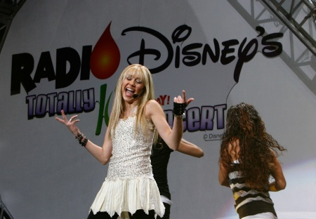 Miley Cyrus performs onstage during the Radio Disney Totally 10 Birthday Concert held at the Arrowhead Pond of Anaheim on July 22, 2006 in Anaheim.