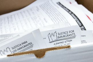 A box of petitions urging support for comprehensive immigration reform is delivered to the offices of U.S. Sen. Dianne Feinstein (D-CA) May 29, 2007 in San Francisco, California.
