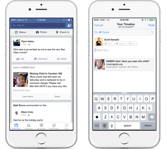 Facebook is working with the National Center for Missing and Exploited Children to send alerts to users' mobile phones if they are in a search area of an abducted child.