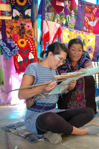 Tanya Aguiñiga backstrap weaving in Beverly Hills.