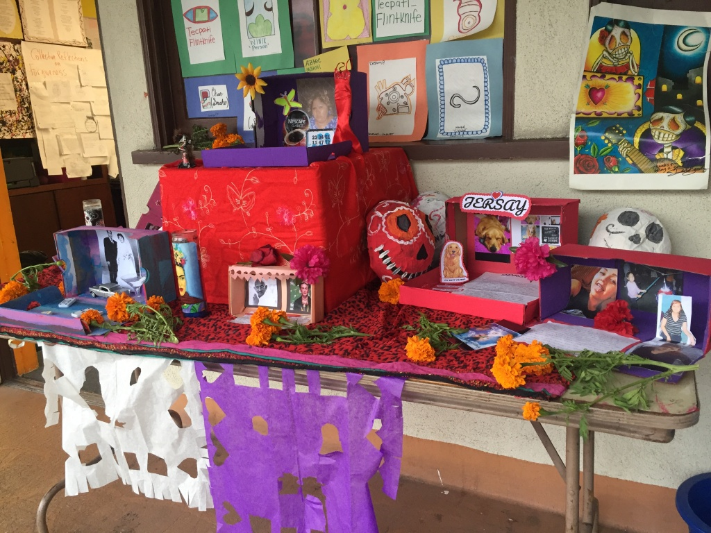 Students' altars were on display outside of a classroom at the YouthBuild Charter and San Gabriel Valley Conservation Corps campus in El Monte. The teacher says she uses art projects like these to teach lessons about history–and about life today.