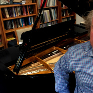 Outgoing LA Chamber Orchestra maestro Jeffrey Kahane, at his home music studio in Altadena.