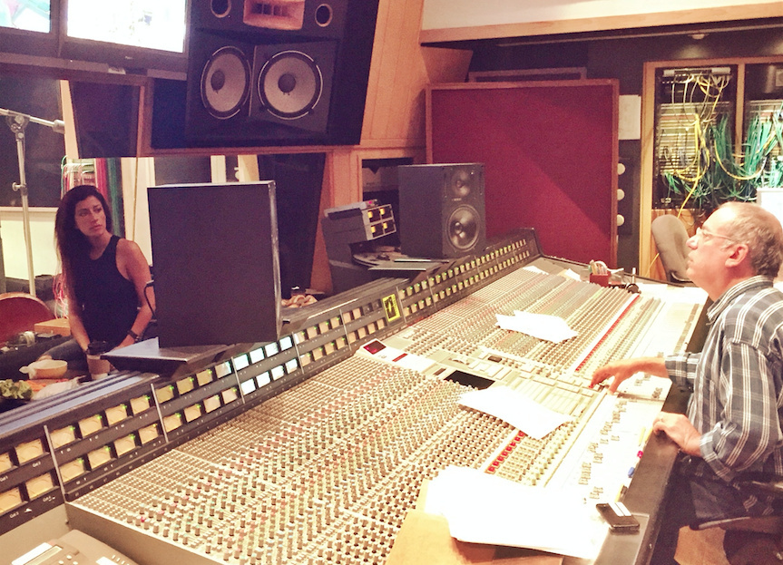 Music producer Larry Klein in the studio with musician Ana Moura.