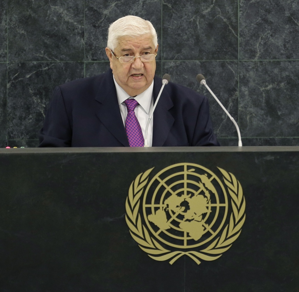 Syrian Deputy Prime Minister Walid al-Moualem speaks during the 68th session of the General Assembly at United Nations headquarters, Monday, Sept. 30, 2013.