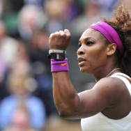 US player Serena Williams reacts to her