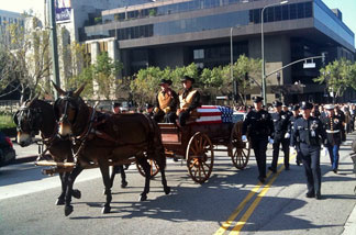 Cottle's casket in procession