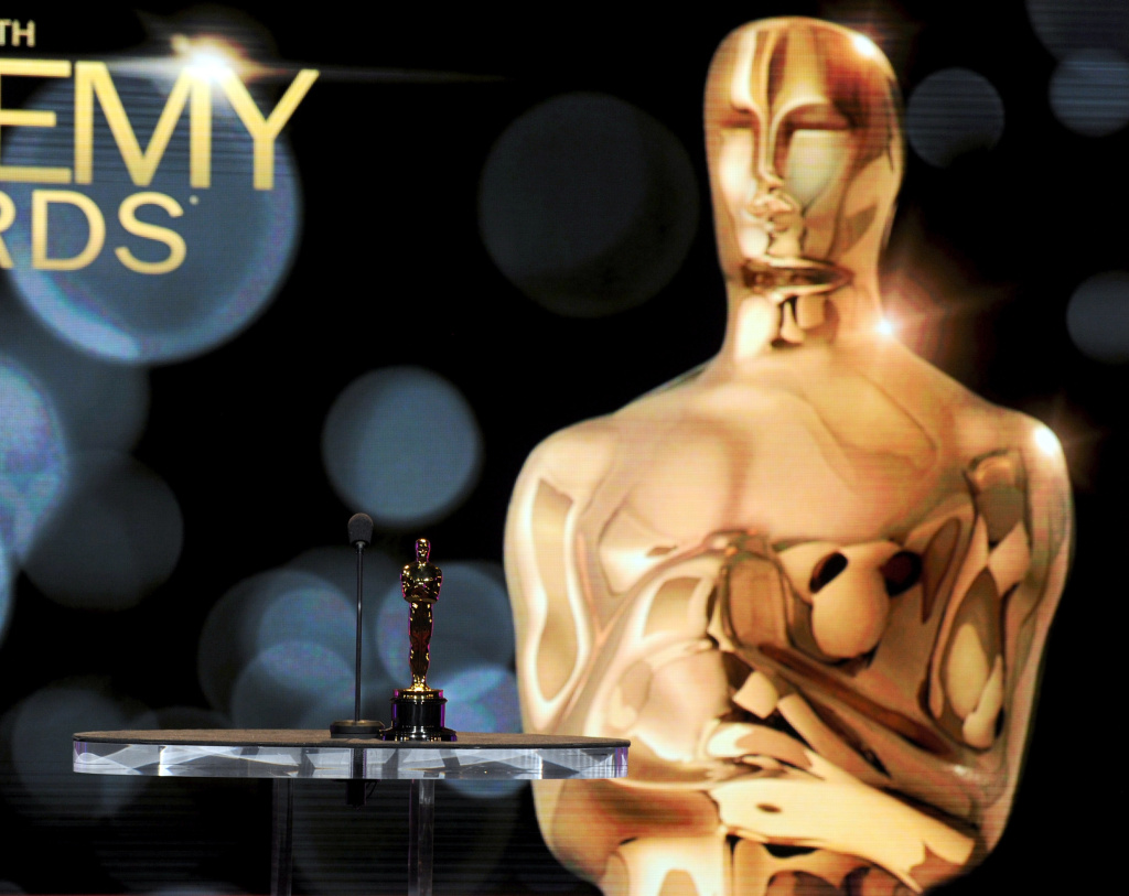 The backdrop of the stage with the Oscar Award is seen onstage during the 84th Academy Awards