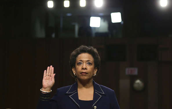 WASHINGTON, DC - JANUARY 28:  U.S. Attorney for the Eastern District of New York Loretta Lynch is sworn in before testifing during her confirmation hearing before the Senate Judiciary Committee January 28, 2015 on Capitol Hill in Washington, DC. If confirmed by the full Senate Ms. Lynch will succeed Eric Holder as the next U.S. Attorney General.  (Photo by Alex Wong/Getty Images)
