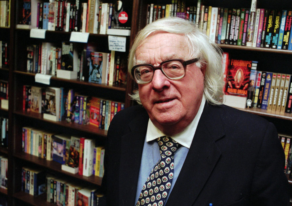Author Ray Bradbury takes a break from signing his new book