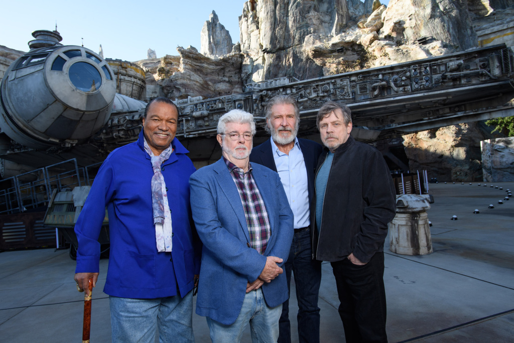 Billy Dee Williams, George Lucas, Harrison Ford and Mark Hamill attend the pre-opening launch of Star Wars: Galaxy's Edge at Disneyland on May 29, 2019 in Anaheim, California.