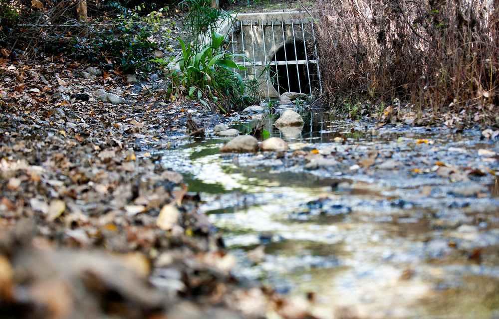 Water from the Tujunga Wash is redirected into a stream, where it is naturally restored in the ground. L.A. is trying to double the amount of stormwater it captures by 2035.