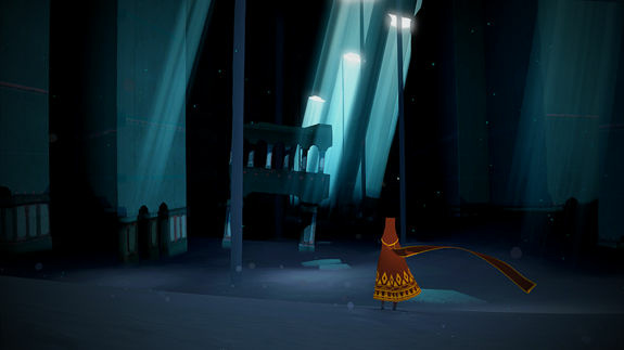 Title screen of the video game, Journey. The game's composer, Austin Wintory, scored the video game industry's first Grammy nomination.