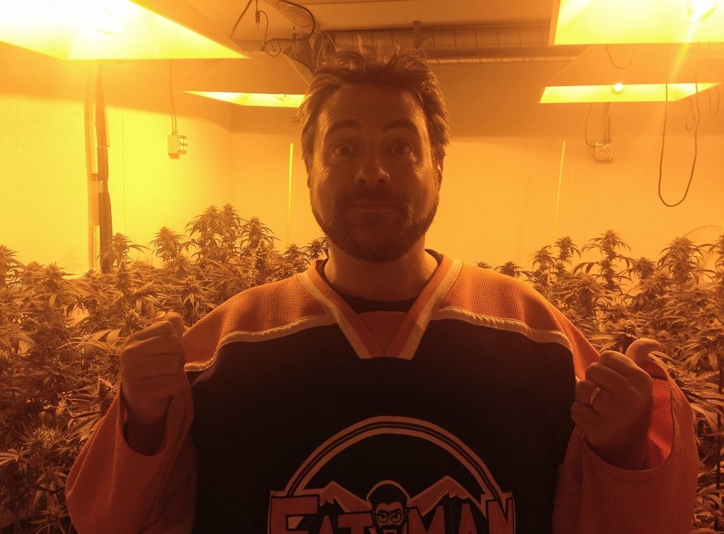 Kevin Smith with a room full of his own strain of pot, created for his new film,