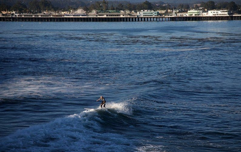 A surfer rides a wave at Steamer Lane, with the Santa Cruz Wharf in the background. A long swath of Santa Cruz's coast has been designated a World Surfing Reserve.