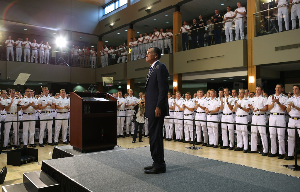Republican presidential candidate, former Massachusetts Gov. Mitt Romney prepares to deliver a foreign policy speech at the Virginia Military Institute on October 8, 2012 in Lexington, Virginia.
