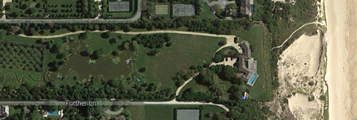A satellite image depicts a beach-front estate that reportedly sold for $147 million in East Hampton, N.Y.