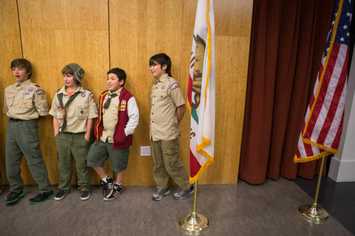 Boy Scouts (from left) Zev Fagan, Jonathan Tenenbaum, Zachary Schulman and Jake Goldman listen to fellow scouts give speeches for their public speaking merit badge at Temple Beth Hillel in North Hollywood on January 28.