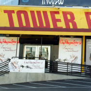 A patron leaves the Tower Records store