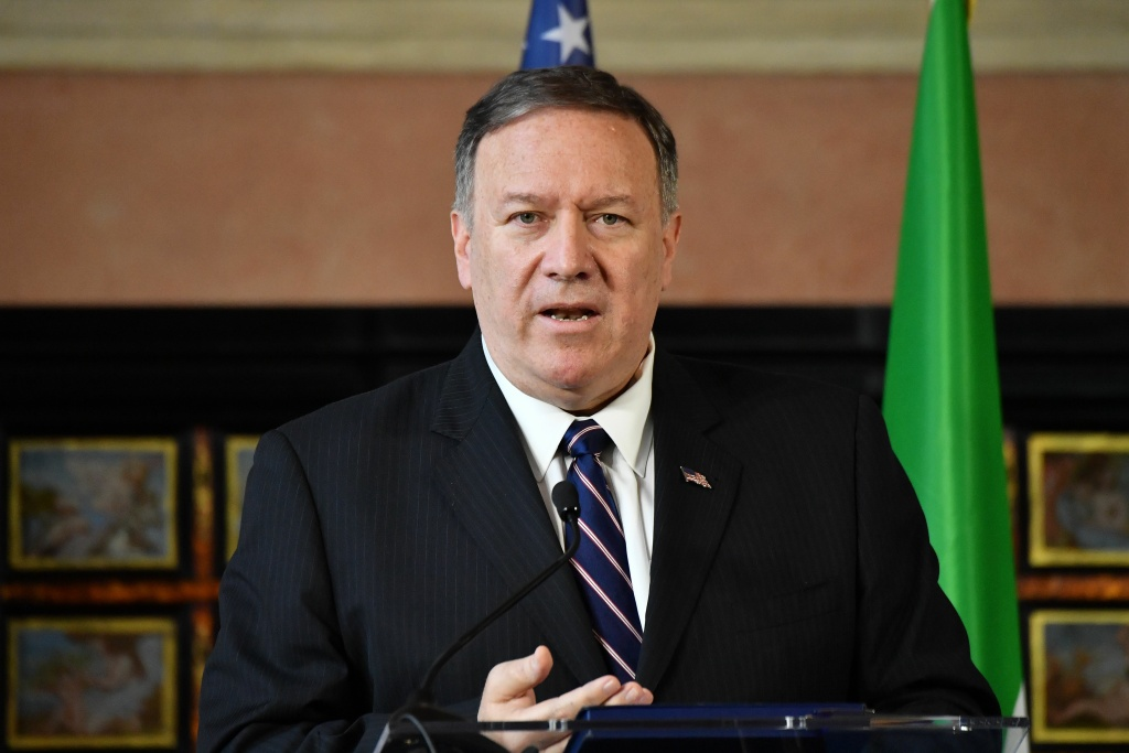 US Secretary of State Mike Pompeo speaks during a joint press conference with Italy's Foreign Minister following their meeting at Villa Madama in Rome on October 2, 2019.