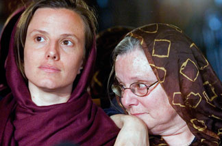 Detained American citizen Sarah Shourd (left) sits with her mother Nora Shourd on May 20 in Tehran during their first meeting since Sarah Shourd and two other Americans where arrested on July 31, 2009, after crosing the Iranian border from northern Iraq. The Swiss embassy arranged for a meeting of the group with their mothers. Shourd was freed from prison today.