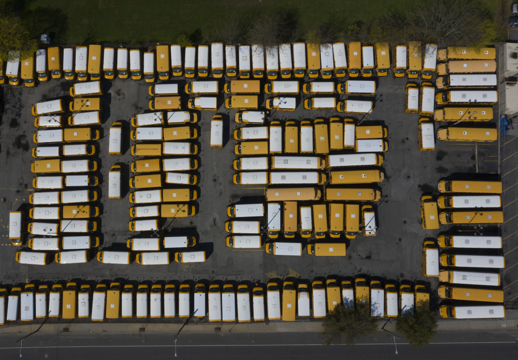 An aerial view of a Freeport, N.Y., school bus parking lot in April 2020.