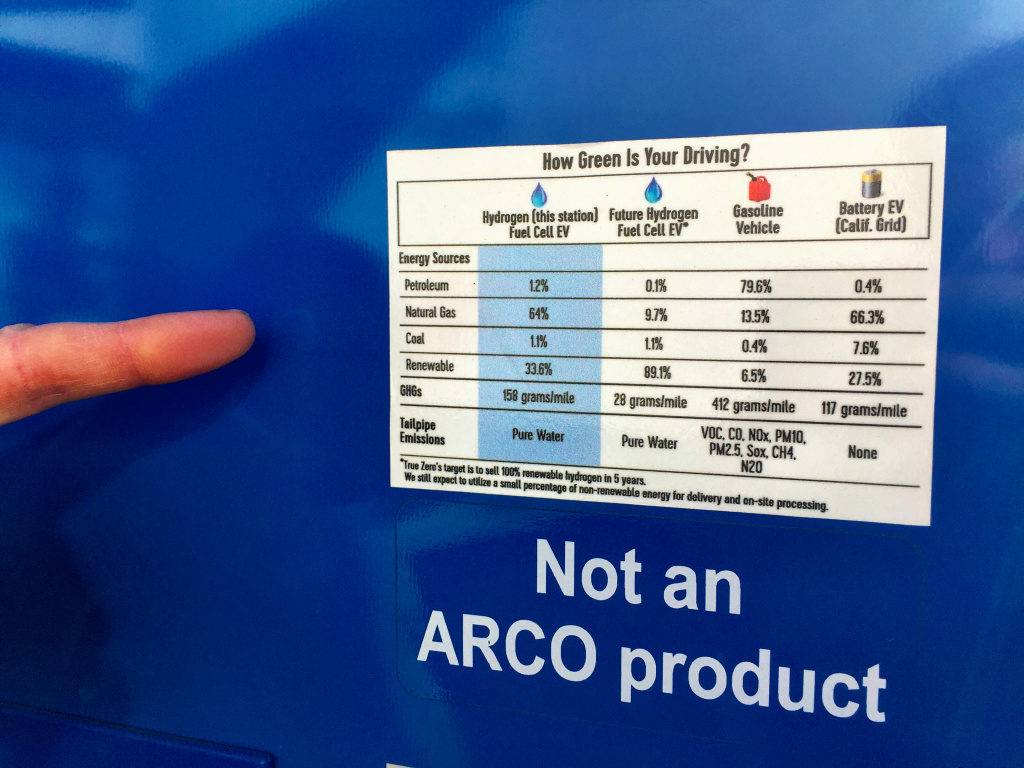 A label on the hydrogen fueling pump in South Pasadena compares the greenhouse gas and tailpipe emissions of cars that run on hydrogen and battery electric power.