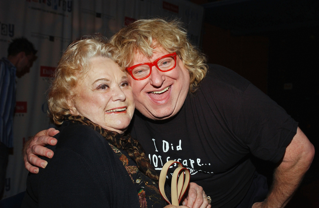 Actor Bruce Vilanch poses with actress Rose Marie as they attend the