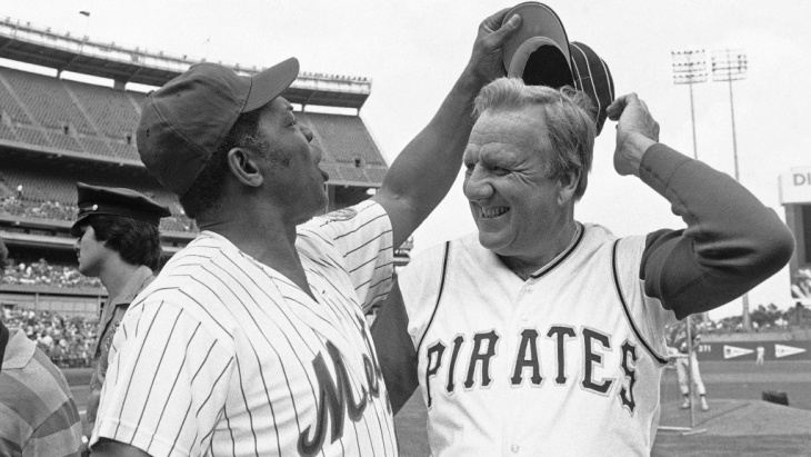 Ralph Kiner, right, seen here in 1982 with fellow Hall of Famer Willie Mays has died at 91.