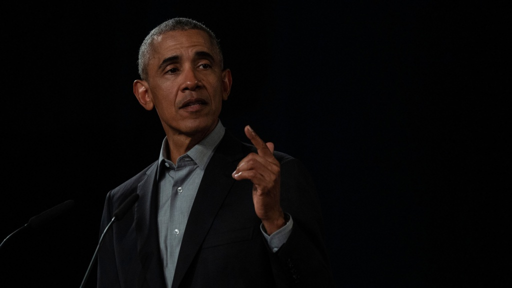 Former President Barack Obama, pictured at a town hall in Berlin in April 2019, has released a statement on the death of George Floyd, who died in police custody in Minnesota.