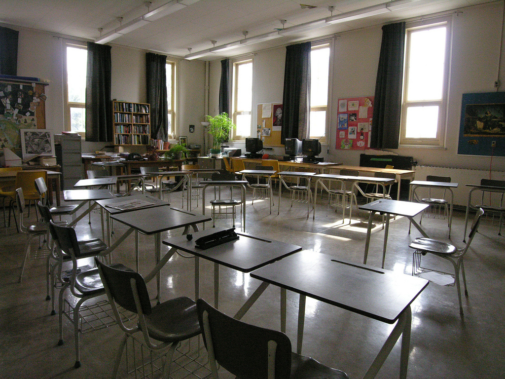 Image of an empty classroom. Teacher Stacie Halas of Richard B. Haydock Intermediate School was fired for her past work in the adult entertainment industry.
