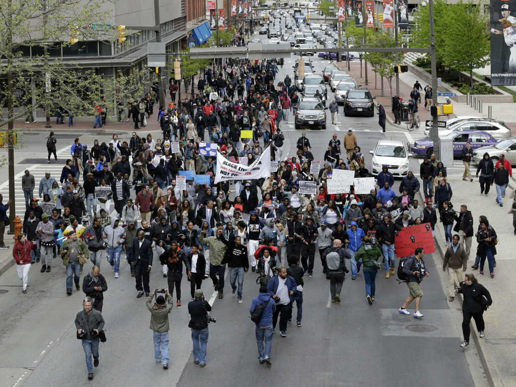 A recent protest for Freddie Gray through downtown Baltimore.