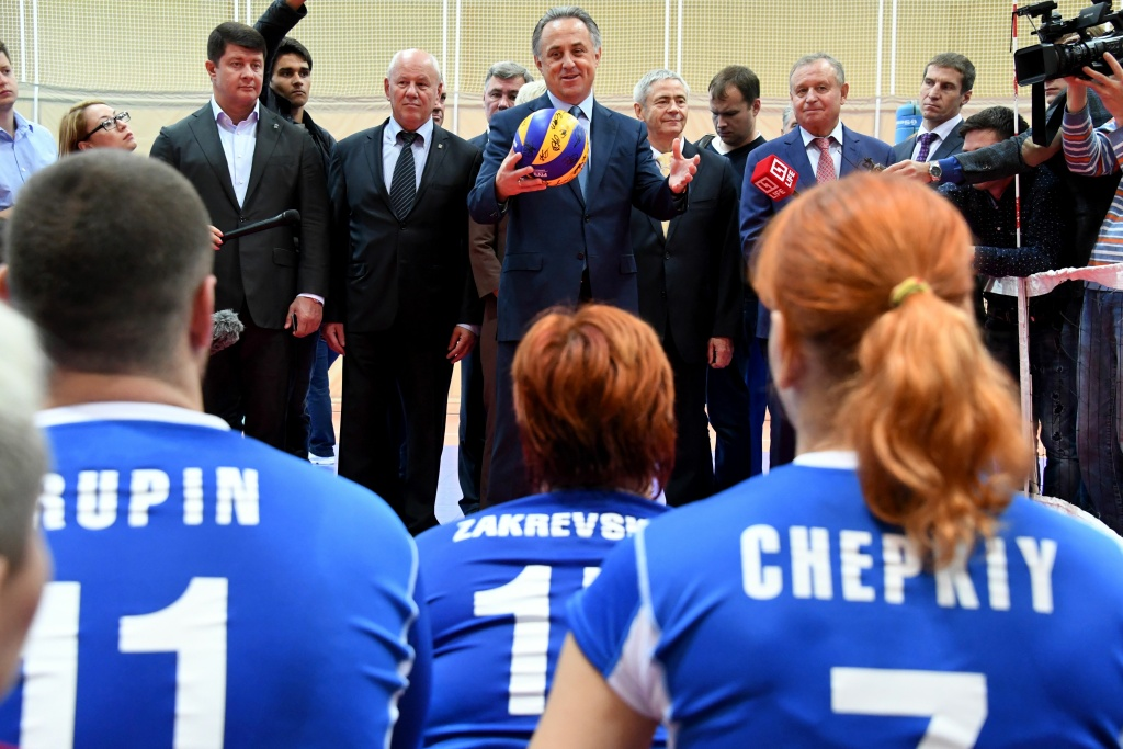 Russia's Sports Minister Vitaly Mutko meets with Paralympians as part of the country's two-day competition for its athletes banned from the Rio 2016 Paralympic Games over evidence of state-run doping.