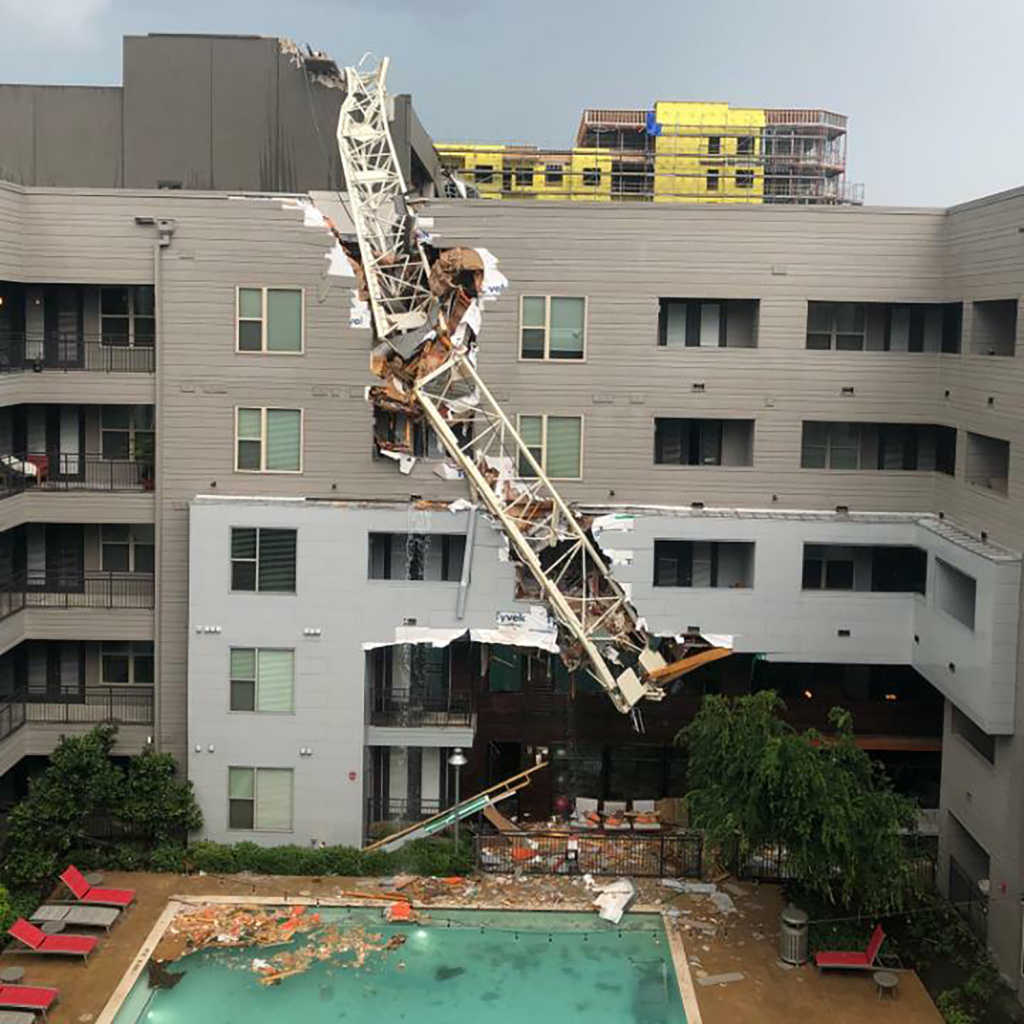 A photo provided by Michael Santana shows a collapsed construction crane at the Elan City Lights apartments in Dallas after severe thunderstorms on Sunday.