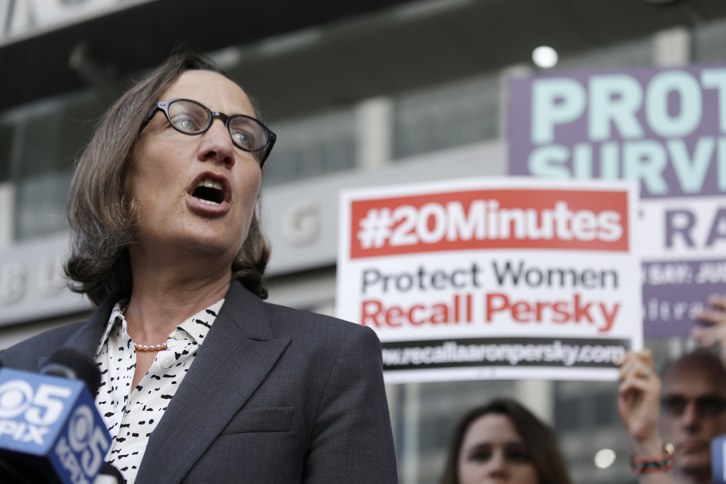 Stanford law professor Michele Dauber speaks at a rally before activists delivered over one million signatures to the California Commission on Judicial Performance calling for the removal of Judge Aaron Persky from the bench Friday, June 10, 2016, in San Francisco.