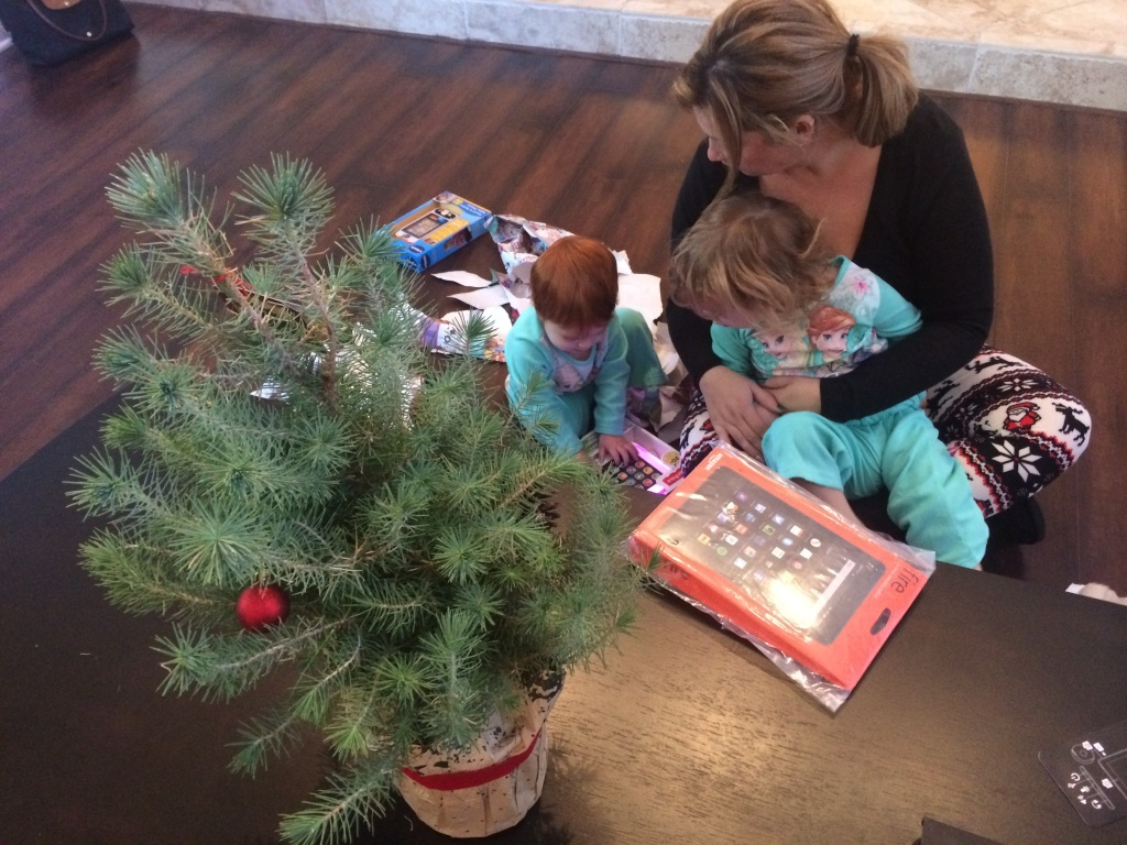 Porter Ranch resident Christine Katz and her daughters, two-year-old Ava and Harper, open Christmas presents next to their makeshift tree in their temporary home in Ventura County.