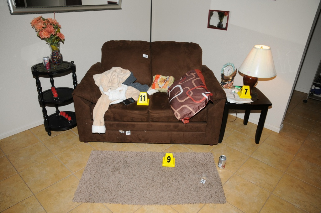Evidence cones in Penny Trent's living room following a June 2012 deputy shooting. Evidence reports show they found two bottles of opioids on the couch that had been prescribed for Trent.