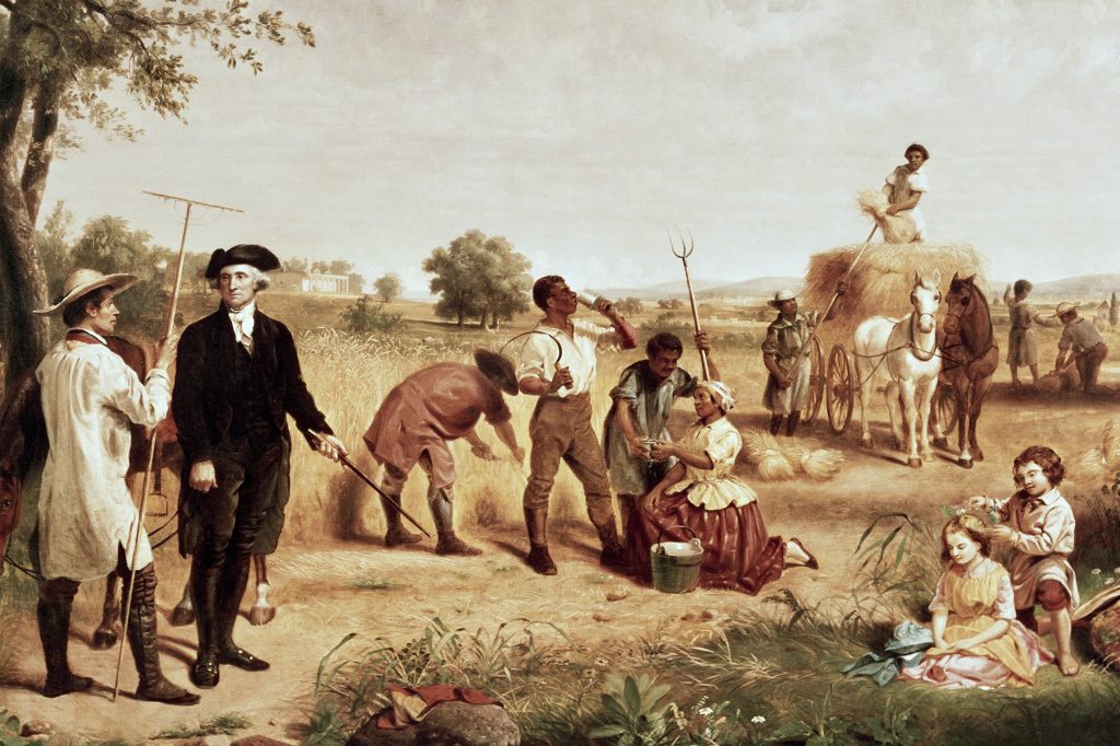 By the time George Washington died, more than 300 enslaved people lived and toiled on his Mount Vernon farm. Painting by Junius Brutus Stearns, 19th Century.