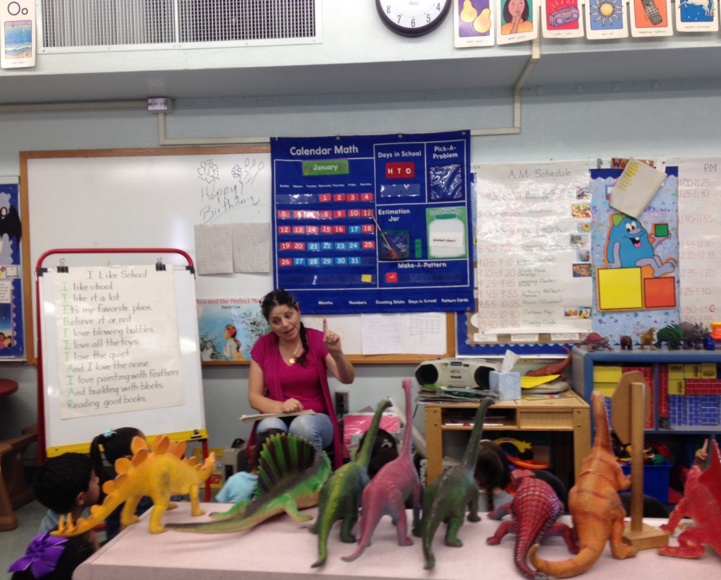 Ms DeLelio is starting her three-hour afternoon class at 11.30am. She teaches El Sereno Elementary's state PreK program to 23 children from 8am-11am and 23 children from 11.30am-2.30pm.