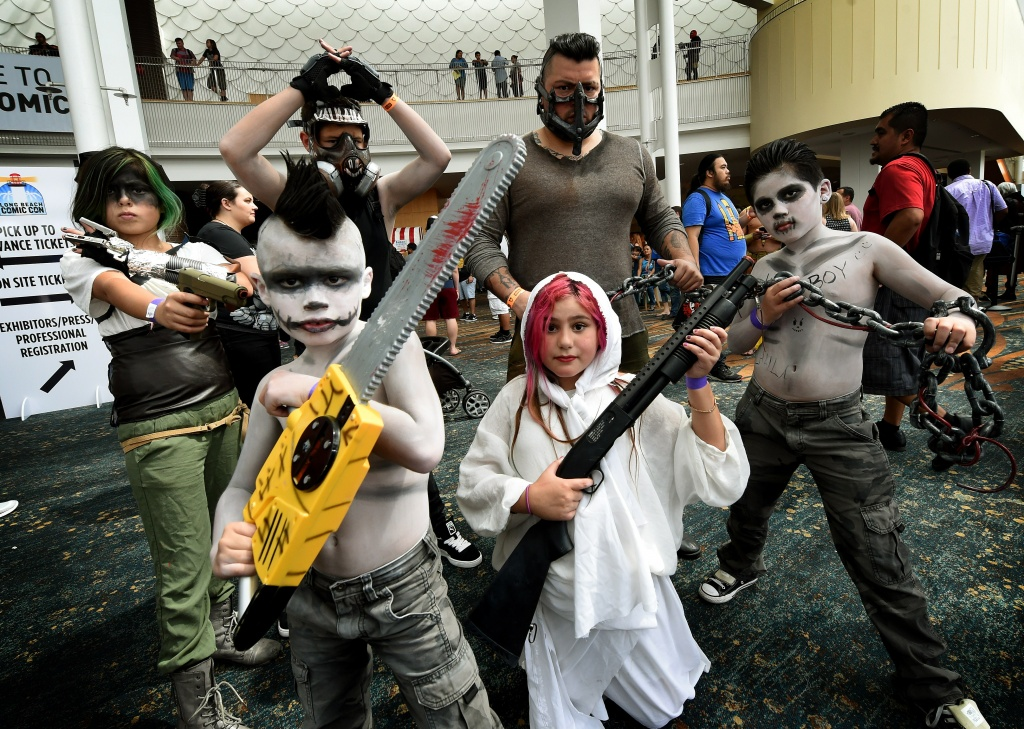 Members of the Cruz family pose during Long Beach Comic Con on September 12, 2015.