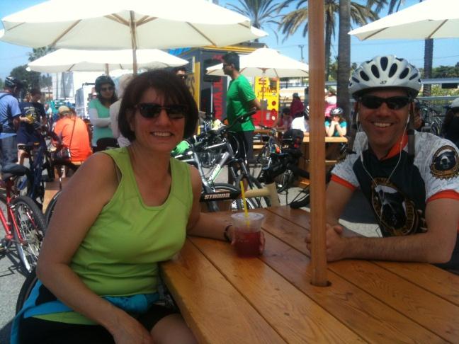 Claire Bono and Craig Knoblock enjoy a tropical tea at the Venice-San Vicente Hub at Ciclavia.