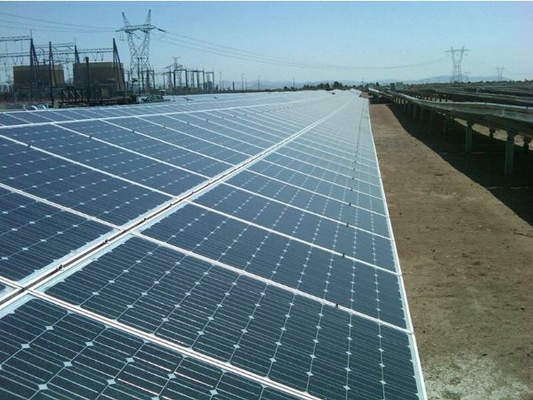 Panels at a California solar power plant.