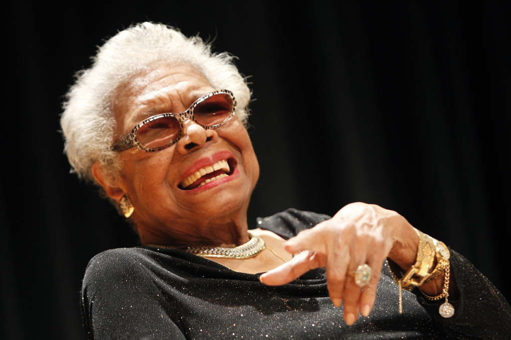 Maya Angelou answers questions at her portrait unveiling at the Smithsonian's National Portrait Gallery on Saturday, April 5, 2014 in Washington, DC. She passed away this morning in her home in North Carolina at age 86.