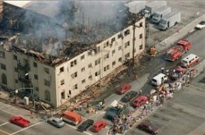 An apartment building damaged by fire during the 1992 Los Angeles riots