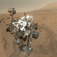 A self portrait of the Mars Curiosity Rover inside the Gale Crater.