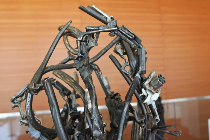 Victor Hugo Zayas melted down guns from the City's annual gun buyback program for his sculptures located in the lobby LAPD's headquarters.